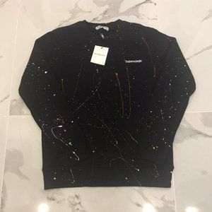 Balenciaga Men Black Cotton Sweaters Large